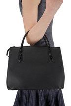 Nancy Gonzalez - Black Grained Leather & Crocodile Medium Bag