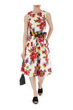 Carolina Herrera - Black Multi Floral Square Buckle Belt