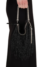 Jimmy Choo - Callie Black Satin Beaded Fringe Evening Bag