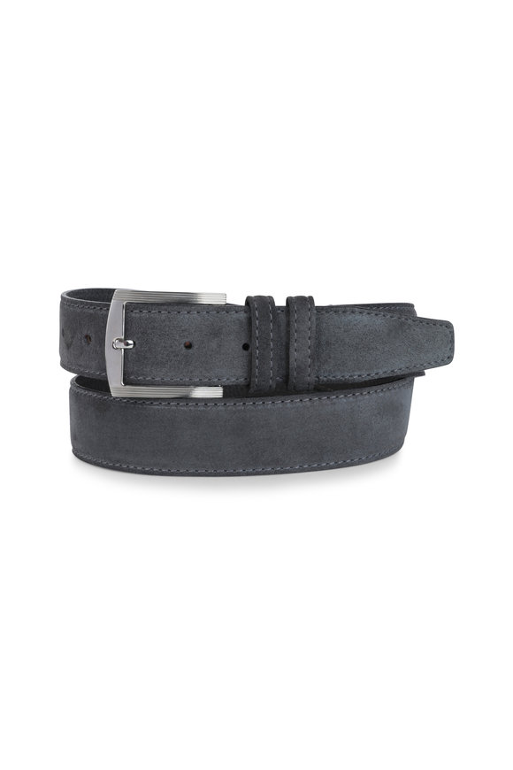 Kiton Gray Suede Belt