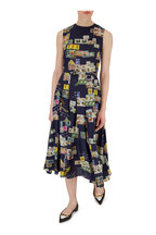 Oscar de la Renta - Navy Silk Postcard Print Belted Sleeveless Dress