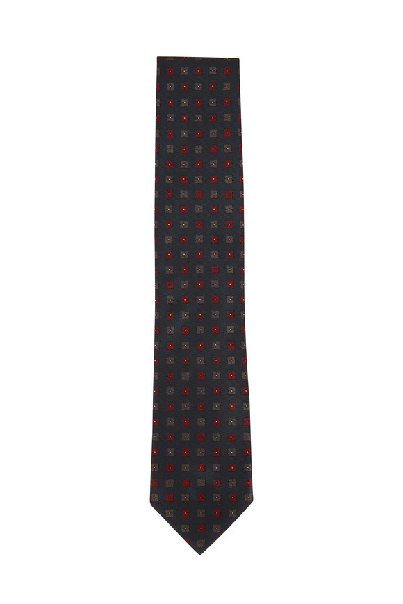 Brioni Dark Green & Bordeaux Square Medallion Necktie