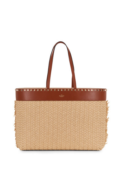 Valentino Garavani - Rockstud Natural Raffia & Leather Large Tote