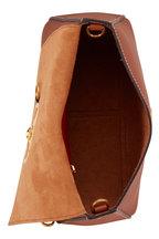 Valentino Garavani - V-Sling Saddle Brown Leather Webb Strap Small Bag