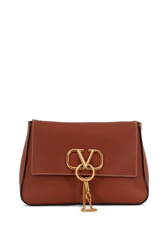 Valentino Garavani V-Sling Saddle Brown Leather Webb Strap Small Bag