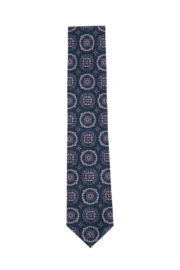 Brioni Navy & Light Blue Large Medallion Silk Necktie