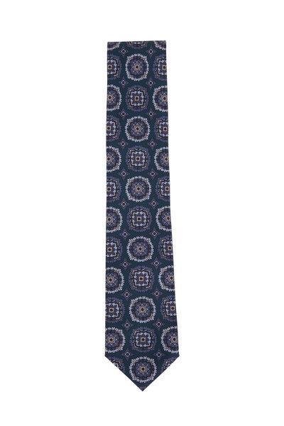 Brioni - Navy & Light Blue Large Medallion Silk Necktie