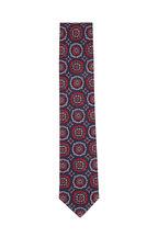 Brioni - Navy & Orange Large Medallion Silk Necktie