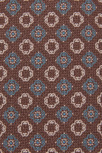 Ermenegildo Zegna - Light Brown & Blue Floral Medallion Silk Necktie