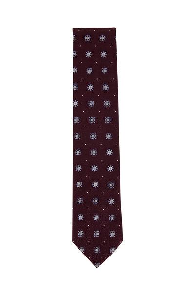 Ermenegildo Zegna - Eggplant Floral Medallion Silk Necktie