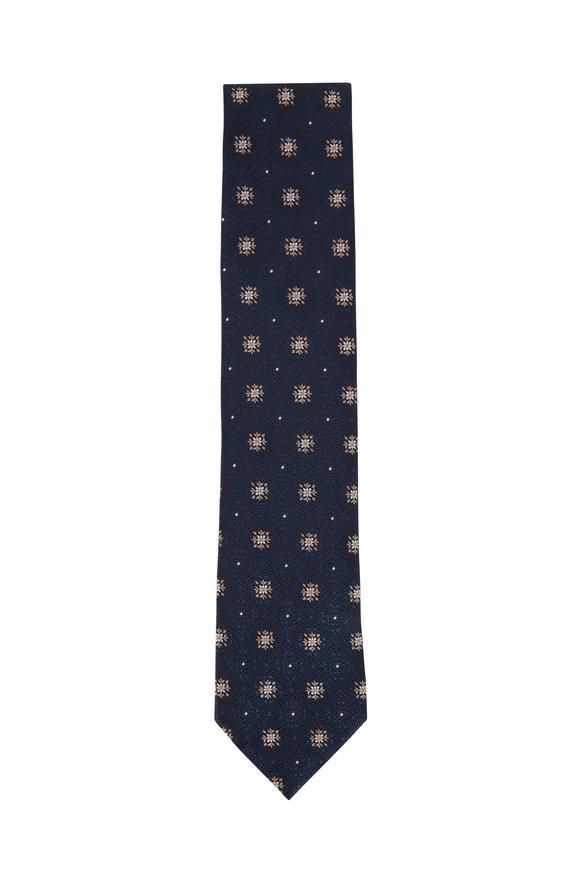 Ermenegildo Zegna Dark Teal Floral Medallion Silk Necktie