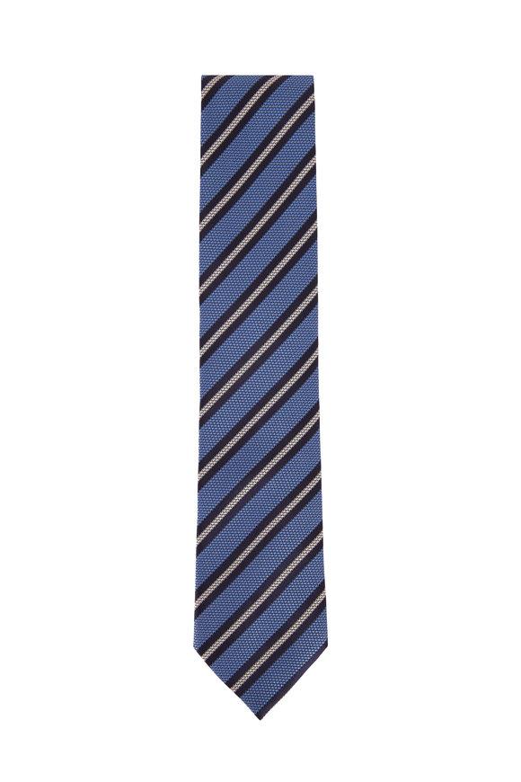 Ermenegildo Zegna Blue Textured Weave Silk Necktie
