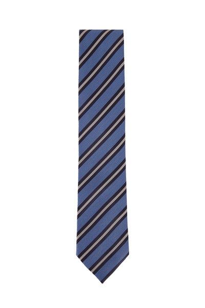 Ermenegildo Zegna - Blue Textured Weave Silk Necktie