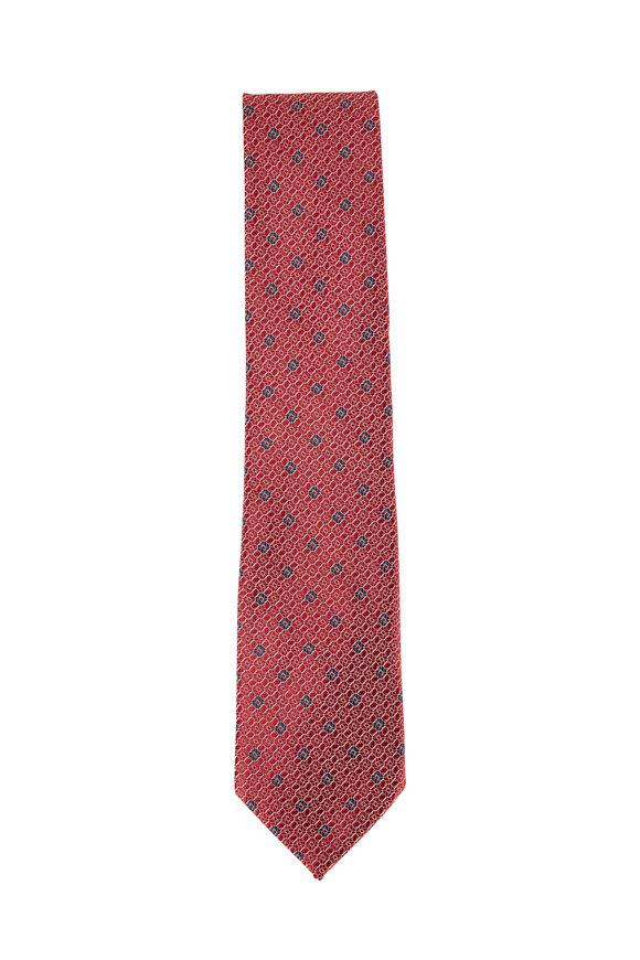 Ermenegildo Zegna Red, White & Blue Geo Silk Necktie