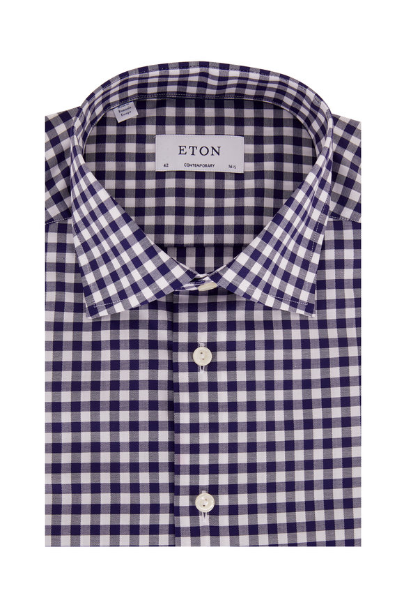 Navy Blue Gingham Contemporary Fit Dress Shirt