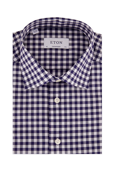 Eton - Navy Blue Gingham Contemporary Fit Dress Shirt