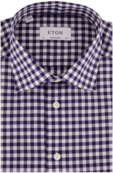 Eton Navy Blue Gingham Contemporary Fit Dress Shirt