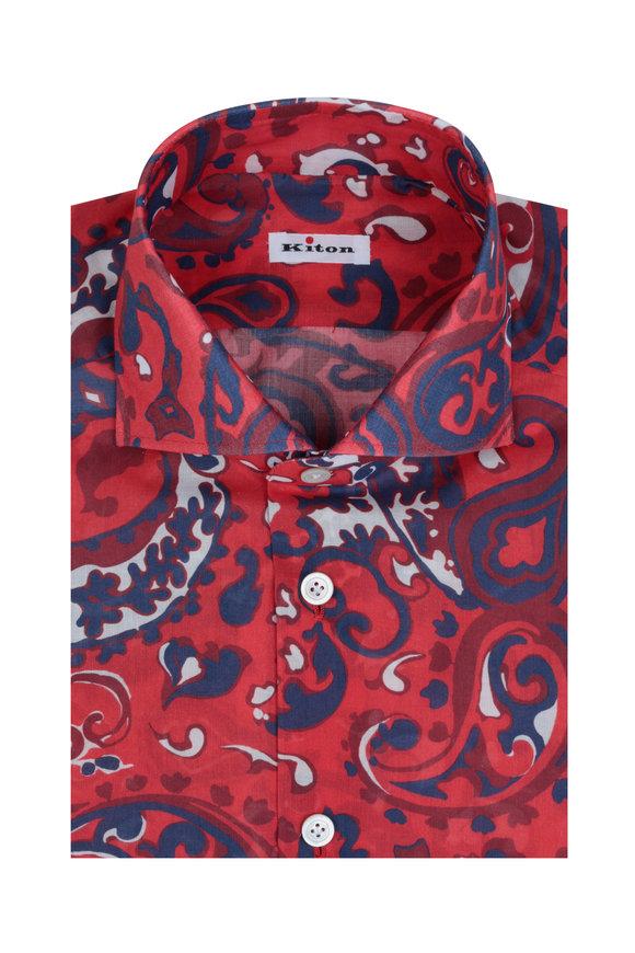 Kiton Red Paisley Sport Shirt