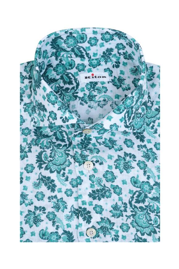 Kiton Green & White Floral Linen Sport Shirt