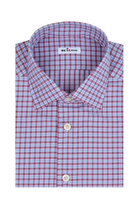 Kiton Red & Blue Check Dress Shirt