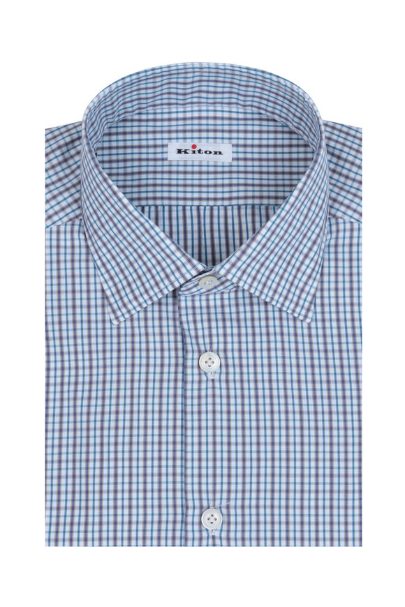 Kiton Gray & Teal Check Dress Shirt