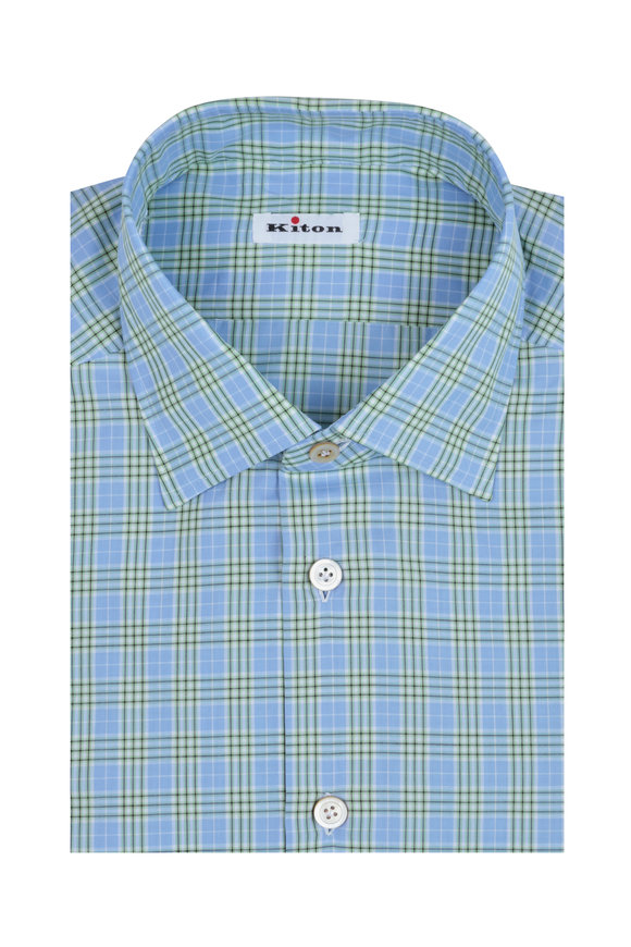 Kiton Blue & Green Plaid Dress Shirt