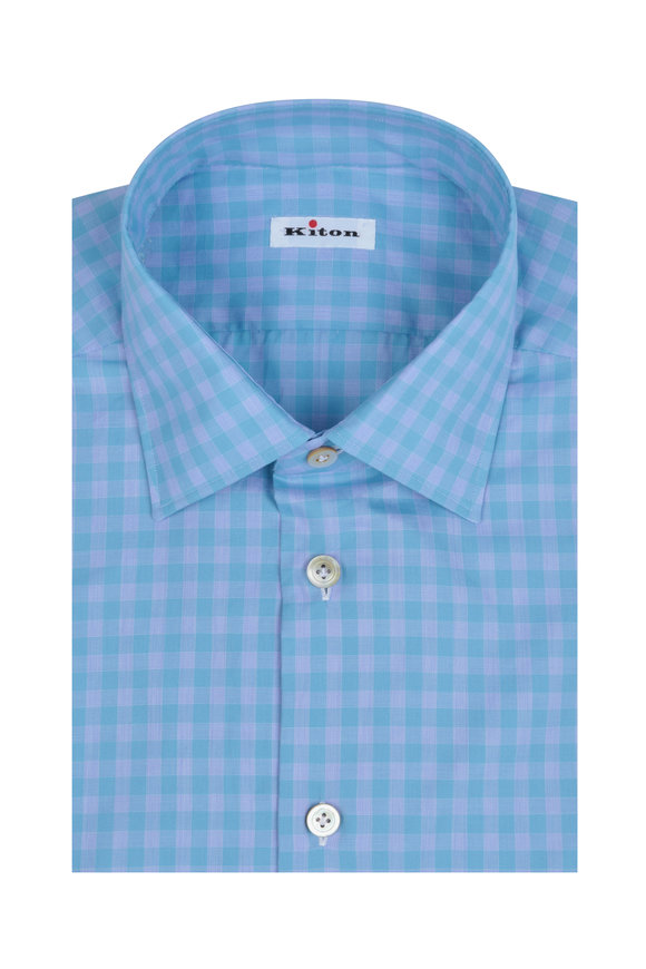 Kiton Blue & Gray Medium Check Dress Shirt