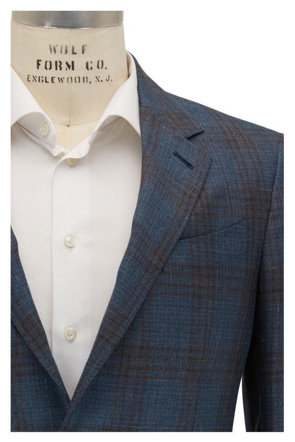Ermenegildo Zegna Teal & Blue Plaid Cashmere & Silk Sportcoat