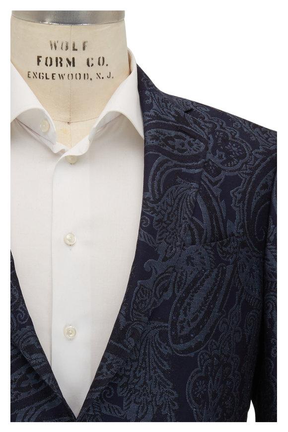 Etro Navy Blue Tonal Jacquard Paisley Sportcoat