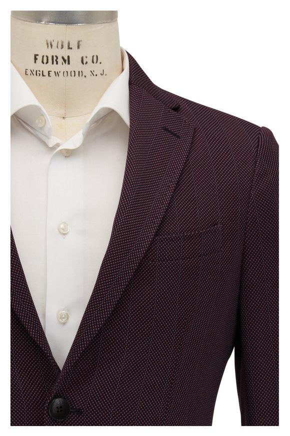 Etro Red & Navy Textured Chevron Cotton Blend Sportcoat