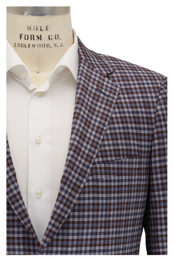 Samuelsohn Bennet Brown & Blue Check Wool Sportcoat
