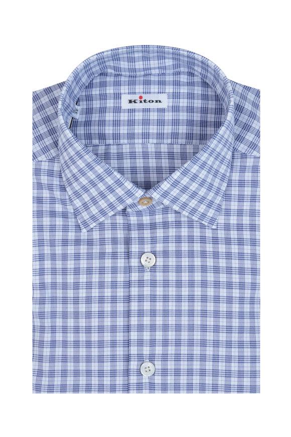 Kiton Blue & White Windowpane Dress Shirt
