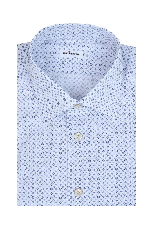 Kiton White & Blue Micro Medallion Dress Shirt