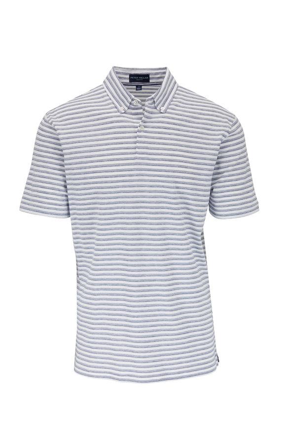 Peter Millar Navy Blue & White Striped Linen Blend Polo