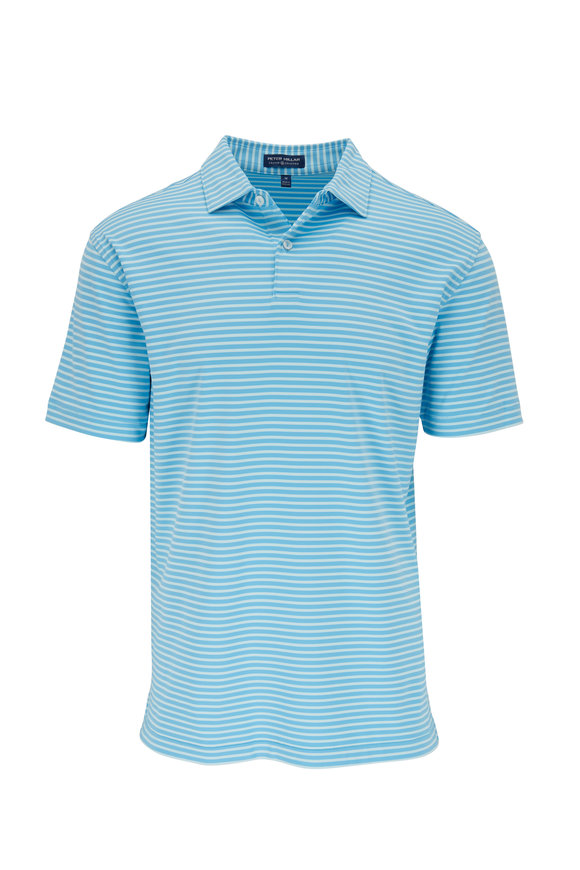 Peter Millar Miles Blue Striped Performance Polo