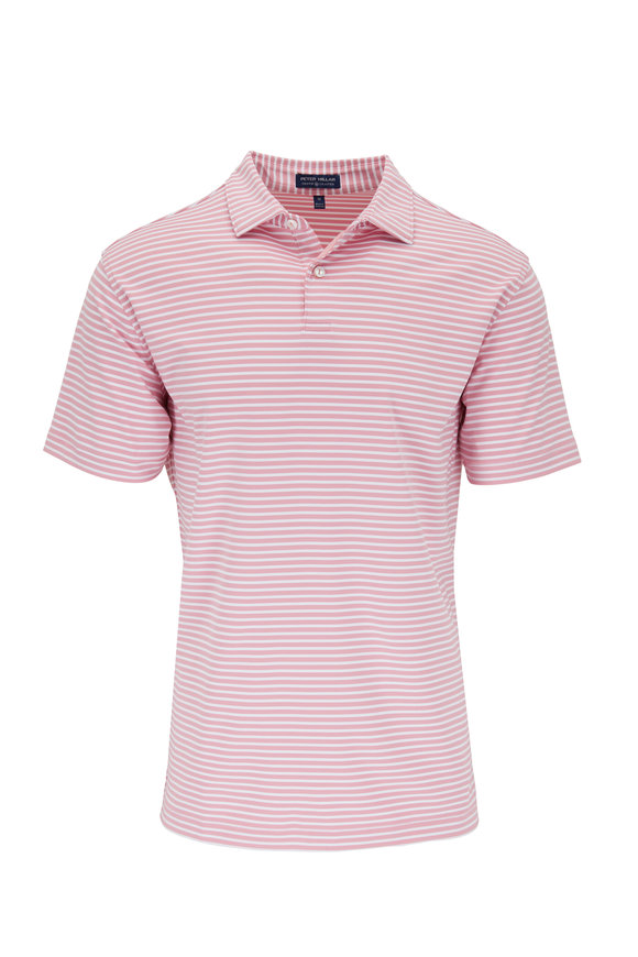 Peter Millar Miles Pink Striped Performance Polo