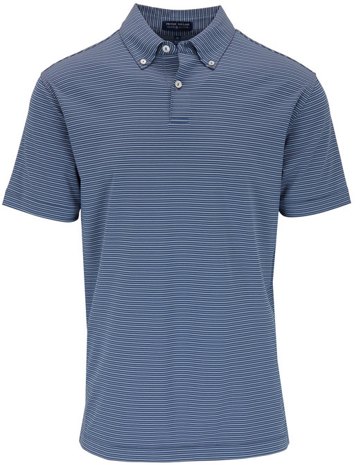 Peter Millar Sunny Blue Striped Performance Polo