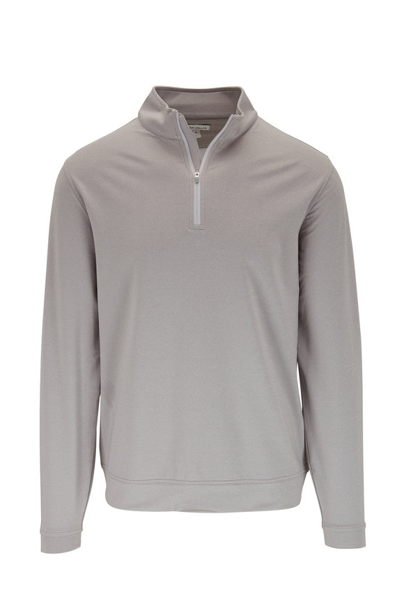 Peter Millar Gale Gray Melange Quarter-Zip Pullover