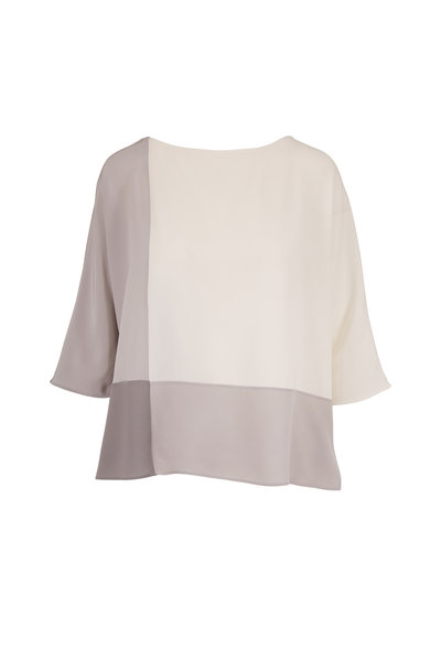 Akris - Jasmine & Silver Silk Colorblock Blouse