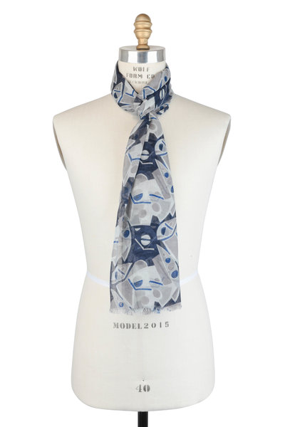 Kiton - Navy Blue & Taupe Geometric Cashmere Scarf