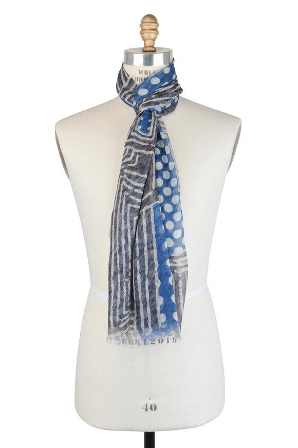 Kiton Blue & Gray Geometric Cashmere Scarf