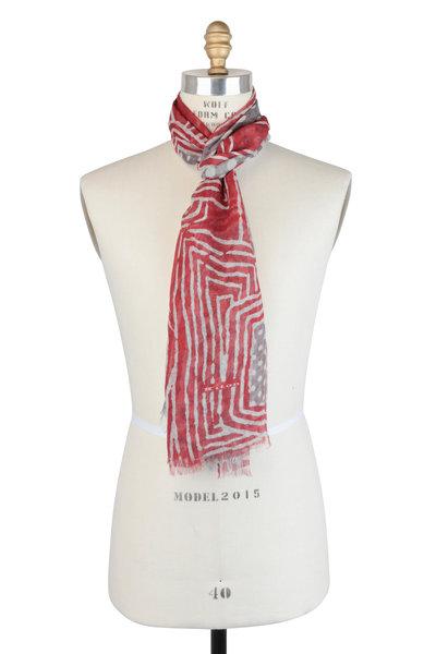 Kiton - Red & Gray Geometric Cashmere Scarf
