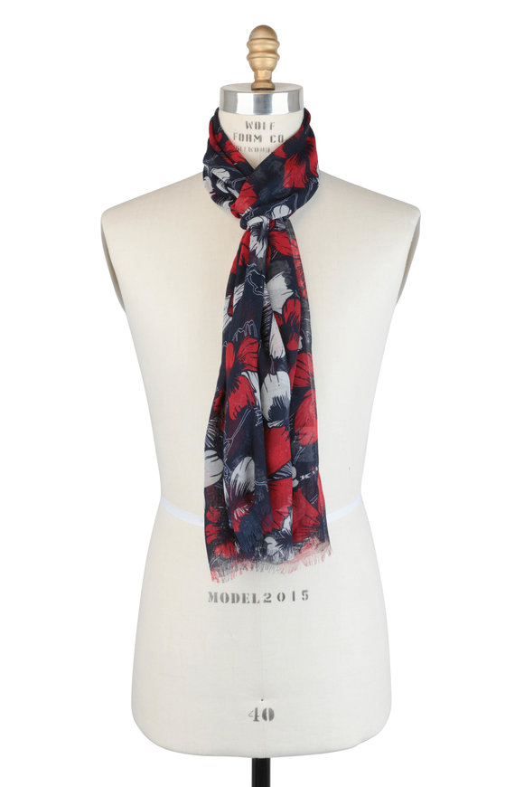 Kiton Navy Blue & Red Floral Cashmere Scarf