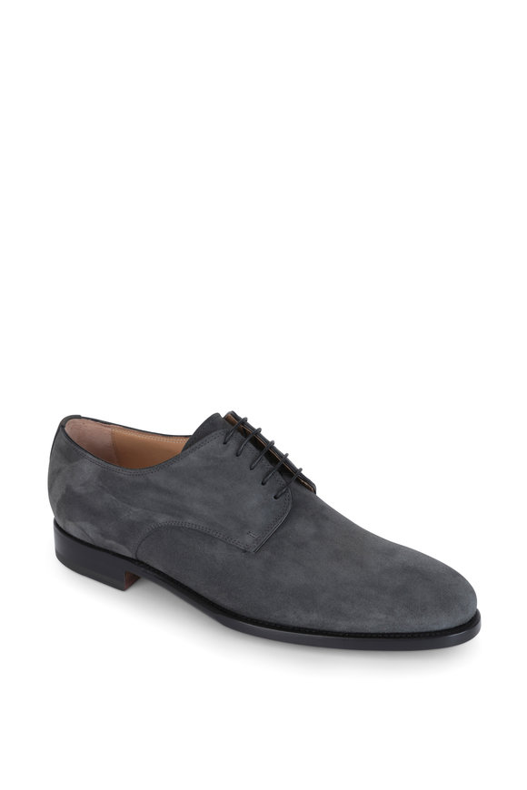 Kiton Gray Suede Derby Dress Shoe