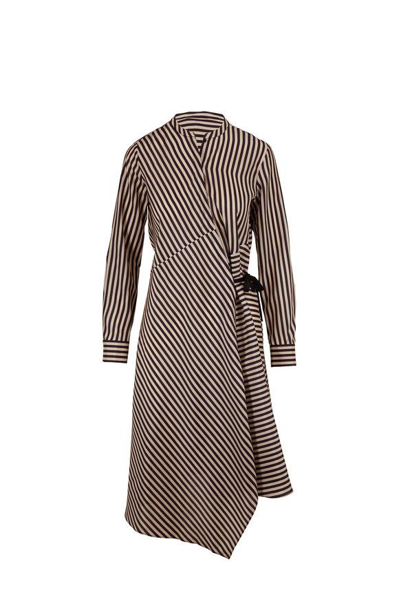 Dorothee Schumacher Black & White Silk Striped Sensation Dress