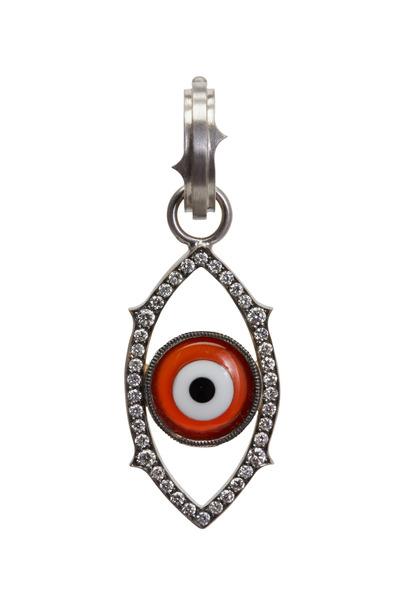Sylva & Cie - White Gold White Diamond Evil Eye Charm