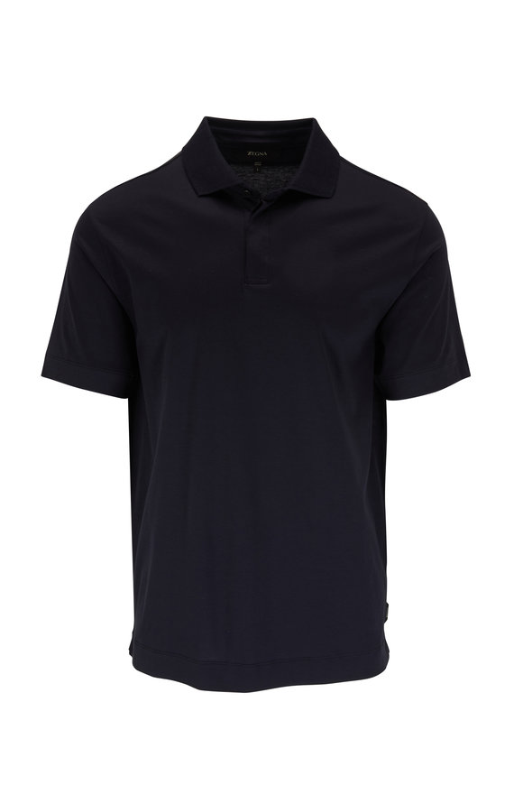 Z Zegna Navy Short Sleeve Polo