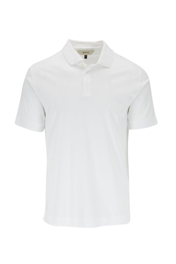 Z Zegna White Short Sleeve Polo