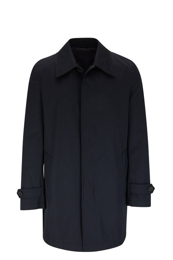 Brioni Navy Cotton Raincoat