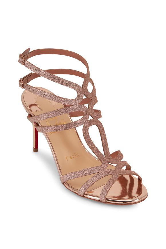 Christian Louboutin Renee Courtisane Rose Gold Glitter Sandal, 85mm